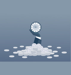 business man hand holding clock time management vector image