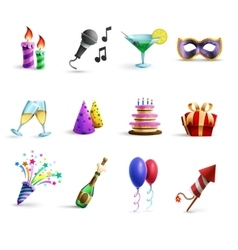 Celebration Colorful Cartoon Style Icons Set vector image