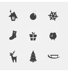 Christmas black icons vector image