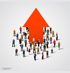 growth chart and progress in people crowd vector image vector image