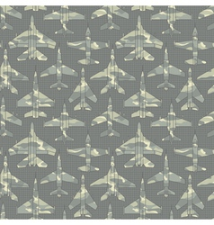 seamless pattern with military airplanes 02 vector image vector image