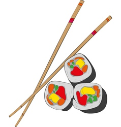 Sushi and chopsticks- vector image