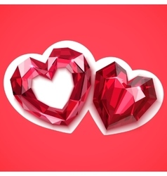 two ruby hearts angular vector image