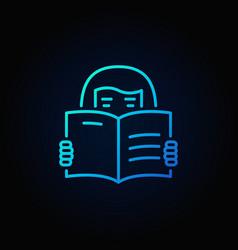 woman reading a book blue icon vector image vector image