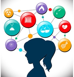 Woman with science icons diagram vector image vector image