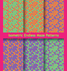 set of colorful isometric maze patterns seamless vector image vector image