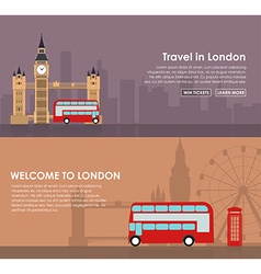 Banner travel to London Flat style vector image