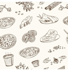 hand drawn seamless pattern Indian cuisine vector image vector image