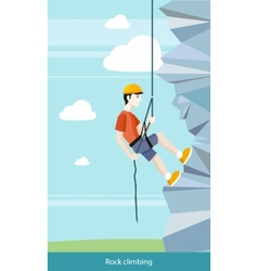 Man Doing Rock Climbing vector image