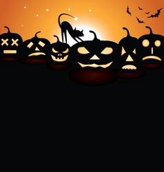 pumpkins at night vector image