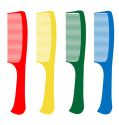 red green yellow blue comb on a white background vector image
