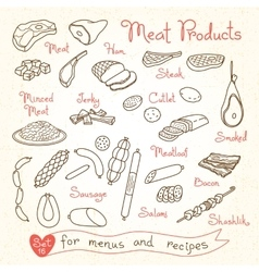 Set drawings of meat products for design menus vector image