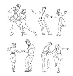 set of a young couple dancing lindy hop hand vector image vector image