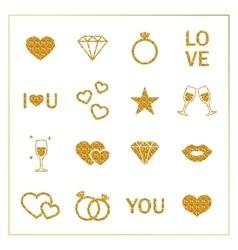 Valentine s day golden glitter design elements set vector image vector image