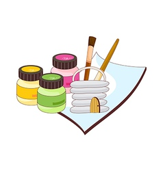 A view of art supplies vector image