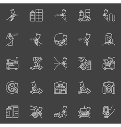 Auto painting outline icons vector