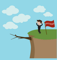 businessman standing on the high mountain vector image