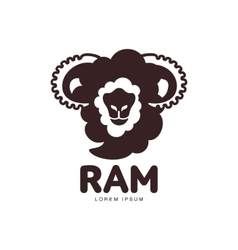 Front view silhouette ram sheep lamb head vector image
