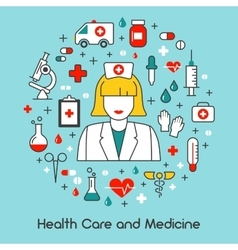 Health Care and Medicine Line Art Thin Icons Set vector image vector image