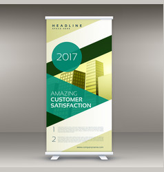 modern green roll up banner standee design vector image