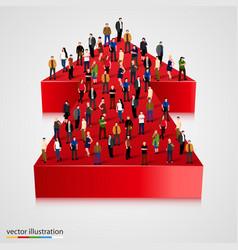 people crowd on an arrow vector image