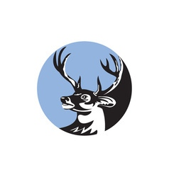 Whitetail Deer Buck Head Circle Retro vector image