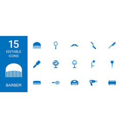 15 barber icons vector