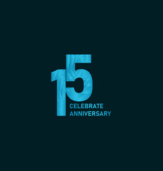 15 year anniversary aqua color template design vector