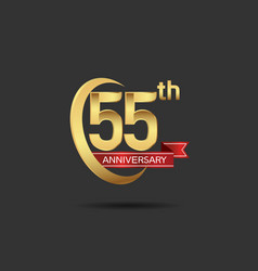 55 years anniversary logo style with swoosh ring vector