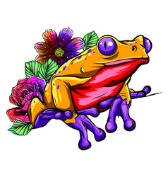 A cartoon frog mascot character pointing vector
