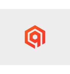 Abstract letter Q logotype Line hexagon vector image vector image