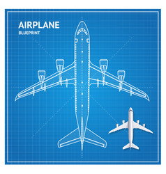 airplane blueprint plan top view vector image
