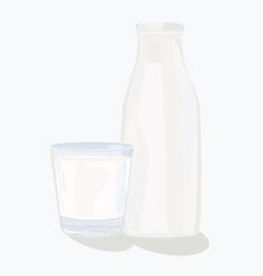 And glass milk bottle vector