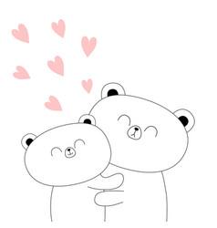 Bear couple hugging family hug embrace cuddle vector