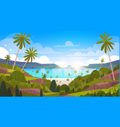 Beautiful seaside landscape summer beach with palm vector