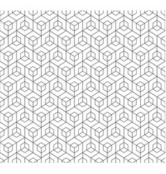 black and white linear abstract cube pattern vector image
