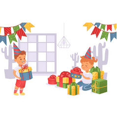 Boy brought gift box to girl in festive cap vector