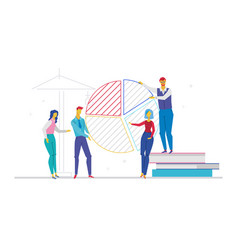 business team working on presentation - flat vector image