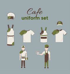cafe uniform collection vector image