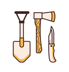 camping tools icons vector image