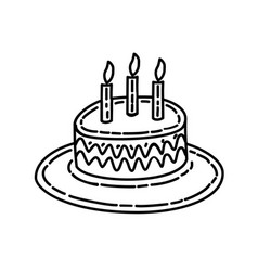 candle cake icon doddle hand drawn or black vector image