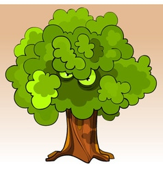 Cartoon menacing tree with eyes in the green vector