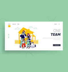 child adoption website landing page big happy vector image
