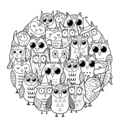 Circle shape coloring page with owls black and vector
