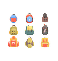 Colorful cartoon backpacks set of school bag for vector