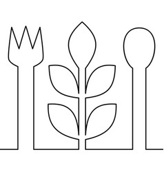 continuous one line vegetarian food concept vector image