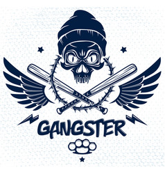 Criminal tattoo gang emblem or logo with vector