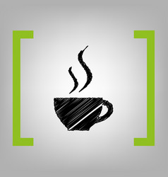 cup of coffee sign black scribble icon in vector image