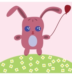 Cute bunny with balloon vector image