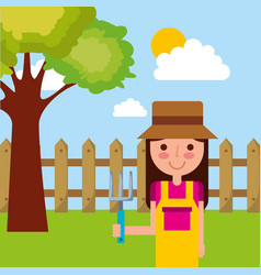 cute girl cartoon gardening rake tree fence sky vector image